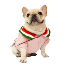 watermelon shirts NZ - Summer Dog Clothes with Bag Female Pet Cat Clothes 100% Cotton Watermelon Shirts Teddy Bulldog Schnauzer T Shirts