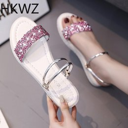 Wholesale 2019 summer brand new fashion flat slippers female sequins rhinestones wild sandals two wear open toe beach flash slippers H0261