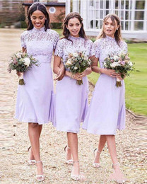 $enCountryForm.capitalKeyWord NZ - Vintange Light Purple Short Bridesmaid Dreses With high Neck LAce chiffon Knee Length Maid Of Honor Gown A Line Country Wedding guest Dress