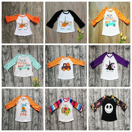 Chinese  Halloween Kids T-shirts Polka Dot Ruffle Tops Childrens Print Pumpkin Cotton Tees Baby Clothing Long Sleeve Shirts 9styles GGA2641 manufacturers