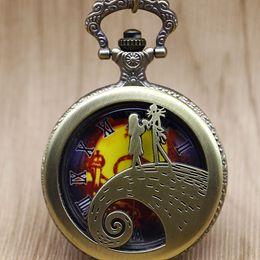 Unique Wholesale Analog Watches Australia - Unique Retro The Nightmare Quartz Pocket Watch Skeleton Retro Pendant Fob Chain Necklace Watches Gift for Men Women TD2049