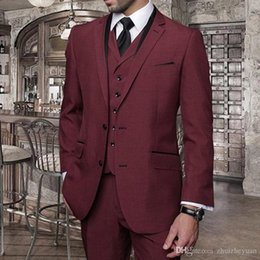 $enCountryForm.capitalKeyWord Australia - New Design Burgundy Business Men Suits Cheap Three Piece Groomsmen Tuxedos Notched Lapel Custom Made Wedding Suits (Jacket+Pants+Vest)