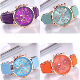 Cheap rhinestone watCh online shopping - Geneva Watch Geneva False Three Eye Double deck Dough Bring Woman Surface Blue Light Wrist Watch Cheap Gift Wrist Watch