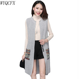 22ff3c178 Autumn winter Long Sweater Vest Women Knitted Cardigan Sleeveless Jacket  Female Spring Loose Waistcoat Coat 2019 Korean Gilet