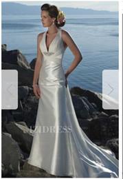 Silk Satin Sheath Wedding Dresses Australia - Sheath Column V-neck Chapel Train Chiffon Elastic Woven Satin Wedding Dress124