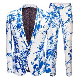 $enCountryForm.capitalKeyWord Australia - Men's Luxury Bamboo Print 2 Pieces Suits Blazer With Pants One Button Slim Fit Party Wedding Banquet Stylish Tuxedo Suit Men Terno 5XL