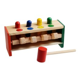 Discount kids educational game - hammer Baby Wooden s Hand Knocking Game Hammering Bench Hammer Toy Children Toddler Games Kids Educational Toy Gift