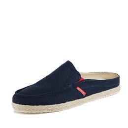 China Tide Drag Summer Half Slippers Baotou Sandals Korean Version Of The Straw Summer Casual No Heel Canvas Men's Shoes cheap korean half slip suppliers