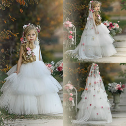 6m veils NZ - Cute Flower Girl Dresses With Veil Tiered Skirt Little Girls Pageant Dresses Children Wedding Gowns Flower Girl Dress