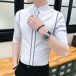 9f58bc96fffa Casual Shirts Men Blouses Korean Men Clothes Summer Shirt Streetwear Slim  Fit Print Line Decoration Half Sleeve Shirt