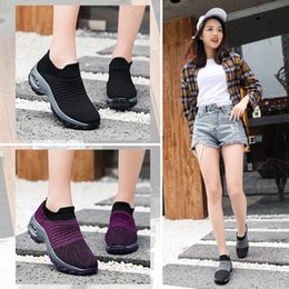 $enCountryForm.capitalKeyWord Australia - 2019 Women Sneakers Shoes Flat Slip On Platform Sole Cushion Gym Female Black Breathable Mesh Sock Walking Sport Running Shoes