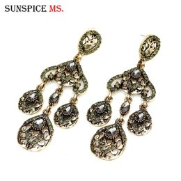 vintage antique turkish jewelry 2021 - Sunspicems Vintage Turkish Earring for Women Gray Crystal Antique Gold Color Long Drop Dangle Earring Banquet Jewelry Gift