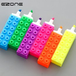 $enCountryForm.capitalKeyWord Australia - EZONE 1PC Building Blocks Highlighter Pen Colorful Marker Pen Writing Canetas Stationery School Office Supply 6 Color To Choose