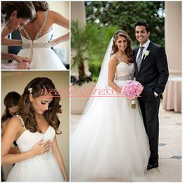 Navy ball caps online shopping - Stunning Straps Tulle Wedding Dresses Beads Crystal A Line Mariage Arabic Bridal Ball Gown For Bride Country Plus Size robe de mariée