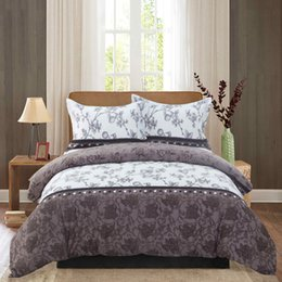 Wholesale 3D Brown Flowers Printing Duvet cover set including pillowcases set Queen King size