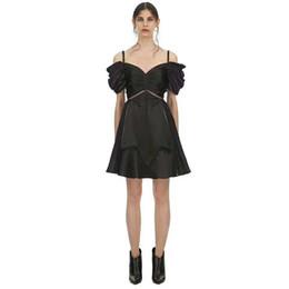 Lace Pleated Australia - Self-portrait New Sling Satin Deep V-collar Sexy Little Black Dress Lace Button Pleated Women Dresses
