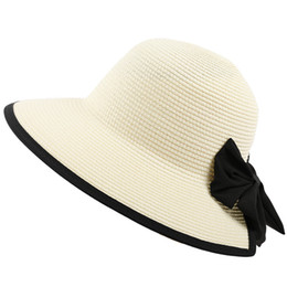 China Women Summer Straw Floppy Sun Hat Long Ribbon Bowknot Decor Plain Solid Color Bohemian Bucket Cap Large Wide Brim UV Protection cheap wholesale large floppy hats suppliers
