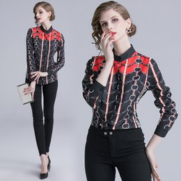nice girl shirts NZ - Fashion elegant Women's Stand Collar Long Sleeve Tops,Beauty Printing Nice Panelled Lady's Blouses & Skirts,All Seasons Shirt of Girl