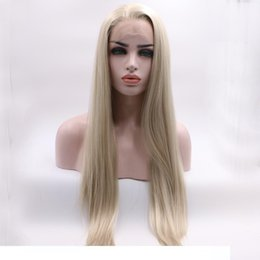 blonde long wavy human hair wigs Australia - A Fashion Middle Part Blonde Color Simulation Human Hair Lace Front Wigs With Baby Hair Cosplay Perruque Synthetic Lace Wigss For Women