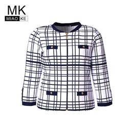 Quality Graphic Tees Australia - Miaoke Ladies Plus Size Vintage Elegant Long Sleeve Plaid T-shirt High Quality Clothing Graphic Tees Women Cotton Mom Tops Y19042101
