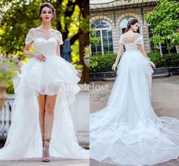 $enCountryForm.capitalKeyWord Australia - Hi-Lo Princess White Wedding Dresses 2019 Sweetheart Lace-up Back Applique Beaded Modest Simply Cheap Bridal Gowns Robe De Mariée Customized