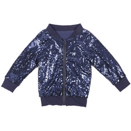 Discount cool jacket girls - Cool Boys Sequin Bomber Jacket Fashion Girl Kids Sparkle Navy Glitter Jacket Long Sleeve Clothing outerwear Coat