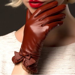 Leather Wrist Gloves Australia - Boouni Genuine Sheepskin Gloves 2019 Fashion Wrist Lace Bow Solid Women Leather Glove Thermal Winter Driving Keep Warm 176 T190618