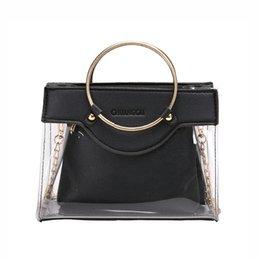 Letters Chains Rings Australia - Women Transparent Handbag Letter Ring Handle Chains Composite Bag Shoulder Bags Rivet Clear Bolsa Feminina Sac A Main Ss7173