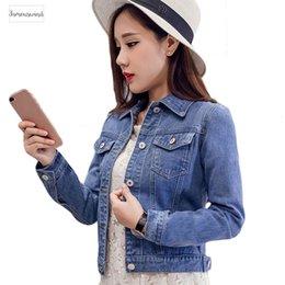 Short Sleeve white denim jacket online shopping - 2019 Fashion Jeans Jacket Women Spring xl Xl Spring Autumn Hand Brush Long Sleeve Stretch Short Denim Jacket White Pink Coats