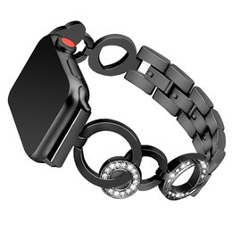 $enCountryForm.capitalKeyWord UK - Compatible Apple Watch Band 38 40 42 44mm Series 4 3 2 1 Bling Glitter Diamond Rhinestone Stainless Steel Metal Adjustable Wristband Strap