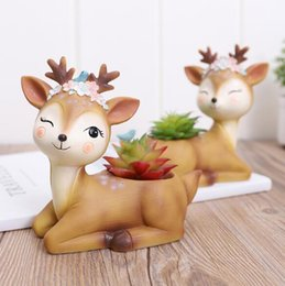 Wholesale Home Gardening resin small deer fleshy flower pots Office desk potted micro landscape creative fashion home decoration