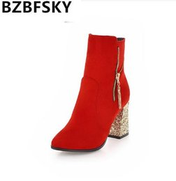 $enCountryForm.capitalKeyWord UK - BZBFSKY Bling Wedding Boots Bride Red Black Zipper Square Chunky Block High Heels Ankle Boots Women Dress Shoes Fashion 34-43
