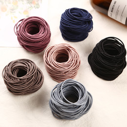 korean girls fashion hair style NZ - 2018 New Fashion 100pcs lot 5CM Size Thin Elastic Rubber Bands Korean Style Basic Girl Women Headwear Hair Accessories Tie Gum C19010901