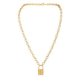 Punk style lock necklace pendant tide men's clothing women's 2018 waterproof stainless steel personality on Sale