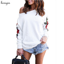 Wholesale women clothes china for sale - Group buy Women Embroidery floral White sweatshirts long sleeve elegant warm winter pullover vintage O neck casual tops china clothes