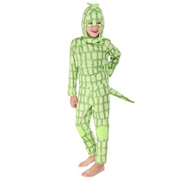 green jumpsuits Australia - Green Lizard Cosplay Boys Girls Halloween Costume for Kids Animal Jumpsuit Child Mask Carnival Party Christmas Fancy Dress