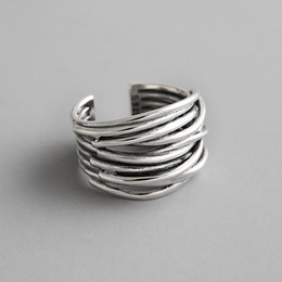 Authentic 925 Sterling Silver Multilayer Wrap Open Rings For Women New Vintage Female Adjustable Statement Ring on Sale