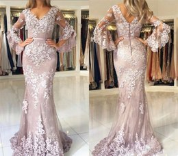 $enCountryForm.capitalKeyWord Australia - Custom Made Plus Size Mermaid Long Sleeves Evening Dress Lace Applque Red Carpet Holiday Women Wear Formal Party Prom Gown