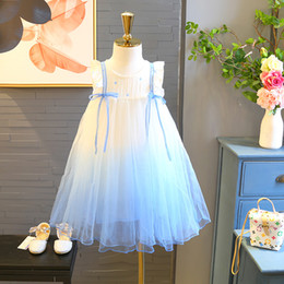 $enCountryForm.capitalKeyWord Australia - Girls Princess Dresses Kids Gradient Ball Gown Summer Sleeveless Star Printed Fly Sleeve Bow Tutu One-piece 100cm-160cm