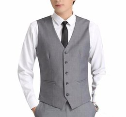 formal suits waistcoat UK - Light Grey Men Suit Vests Five Buttons Classic Dress Slim Fit Vests Male Sleeveless Brand Mens Formal Wedding Waistcoat VT1073