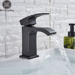 single lever NZ - Modern Black Bathroom Basin Faucet Single Lever Wide Waterfall Spout Hot Cold Mixer Tap Deck Mounted Washing Vanity Sink Tap