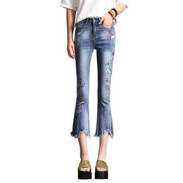 6dbd2a107c 2019 Summer Fashion Flare Denim Jeans Women Vintage Floral Embroidered  Jeans Female Blue Casual Ripped Tassel Pants Capris