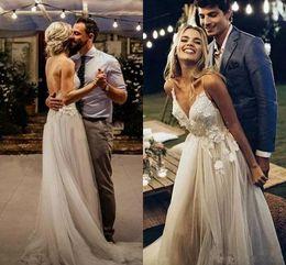 $enCountryForm.capitalKeyWord Australia - Romantic Bohemian Boho Spaghetti Straps Wedding Dresses Garden Spring Applique Backless Lace Bride Dress Arabic Bridal Ball Wedding Gowns
