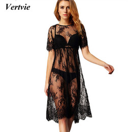 24632edb6d Vertvie 2017 New Lace Crochet Bikini Cover Up Swimwear Beach Dress Swimsuits  Black Sexy Solid Hollow Out Beach Tunic Cover ups