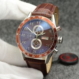 Brown Man Casual Watch Classic Australia - Outdoor 44MM Quartz Chronograph Mens Watches Men Watch Classic Brown Dial With High Grade Leather Band Stainless Steel Bezel