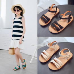 Little Girls Leather Sandals Australia - Girls sandals 2019 summer new children's Korean version of the princess shoes in the big children's shoes little girl baby sandal tide