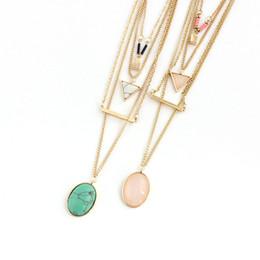 $enCountryForm.capitalKeyWord Australia - Multilayer Triangle Oval Rose Pink Quartz Kallaite Natural Stone Pendant Short Gold Chain Necklaces Geometric Circle Accessories Jewelry