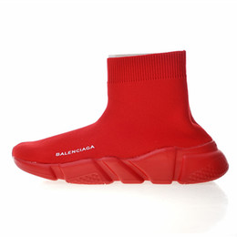 Wholesale Designer Sneakers Speed Trainer Black Red Gypsophila Triple Black Fashion Flat Sock Boots Casual Shoes Speed Trainer Runner With Dust Bag S5