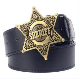Black Badge online shopping - Fashion Men s belt metal buckle belts Sheriff badge Retro Hexagon star sign western style cowboy Pu leather belt