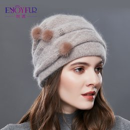 Cashmere Beanies Australia - ENJOYFUR Cashmere Pompom Women Winter Hats Caps Stripe Knitted Hat Female Fashion Lady Middle-Aged Cap Rhinestones Thick Beanie